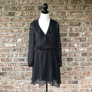 Brave Soul London Black Polka Dot Sheer Dress Sz M